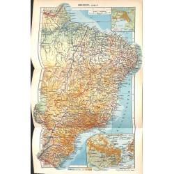 1823 map/print-BRASIL EAST printed: 1954