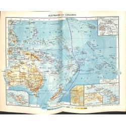 1827 map/print-AUSTRALIA OCEANIA printed: 1954