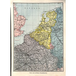 1901 WWI print 1914/18-colored map Western Front France Belgium,size:23,5 x 32,5 cm