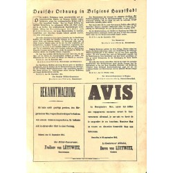 """1911 WWI print 1914/18-German Order in Belgium,size:23,5 x 32,5 cm-this print comes from the austrian book """"Die grosse Zei"""