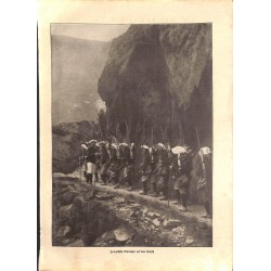 "1915	 WWI print 1914/18-	French Alpine soldiers	,size:	23,5 x 32,5 cm	-	this print comes from the austrian book ""Die grosse Zeit"