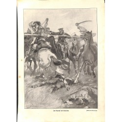 """1916 WWI print 1914/18-Cossacks cavalry horses,size:23,5 x 32,5 cm-this print comes from the austrian book """"Die grosse Zei"""