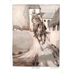 1918 WWI print 1914/18-Husar cavalry horse drawing by Paul Tschech,size:23,5 x 32,5 cm-this print comes from the austrian