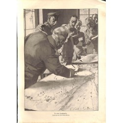 1933 WWI print 1914/18-German headquarter Generals drawing by Fritz Koch-Gotha,size:23,5 x 32,5 cm-this print comes from t