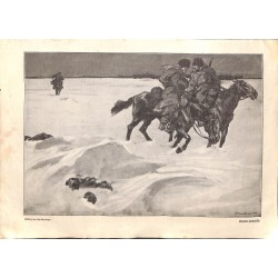 1936 WWI print 1914/18-Cossack patroullie drawing by Lutz Ehrenberger,size:23,5 x 32,5 cm-this print comes from the austri