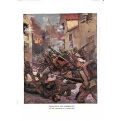 1944 WWI print 1914/18-Fight in frenc village German soldiers painting by Jos. Andreas Sailer,size:23,5 x 32,5 cm-this pri