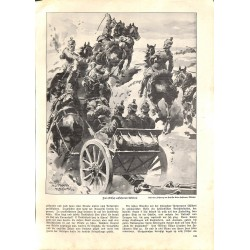 1945	 WWI print 1914/18-	Artillery horses drawing by Anton Hoffmann	,size:	23,5 x 32,5 cm	-	this print comes from the austrian b