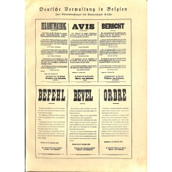 "1946	 WWI print 1914/18-	German Announcement in Belgium	,size:	23,5 x 32,5 cm	-	this print comes from the austrian book ""Die gro"