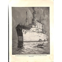 """1950 WWI print 1914/18-German Cruiser drawing by P. Direnz,size:23,5 x 32,5 cm-this print comes from the austrian book """"Di"""