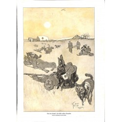 1952 WWI print 1914/18-Medics dogs insured german soldiers drawing by Knut Hansen,size:23,5 x 32,5 cm-this print comes fro