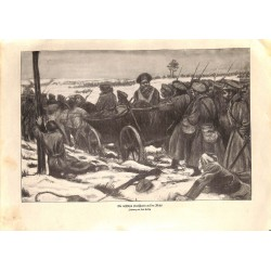 1953 WWI print 1914/18-Russian soldiers drawing by Paul Helwig,size:23,5 x 32,5 cm-this print comes from the austrian book