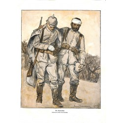 1956 WWI print 1914/18-German Soldiers drawing by Ernst Liebermann,size:23,5 x 32,5 cm-this print comes from the austrian