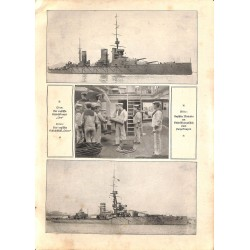 """1960 WWI print 1914/18-Engish Cruiser LION  ORION seamen,size:23,5 x 32,5 cm-this print comes from the austrian book """"Die"""