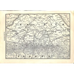 """1965 WWI print 1914/18-map Galizien Hungary Karpathen,size:23,5 x 32,5 cm-this print comes from the austrian book """"Die gro"""