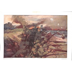 1971 WWI print 1914/18-German Soldiers Reim trench painting by Andreas Sailer,size:46 x 32,5 cm-this print comes from the