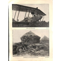 """1972 WWI print 1914/18-photos airplane/ howitzer,size:23,5 x 32,5 cm-this print comes from the austrian book """"Die grosse Z"""