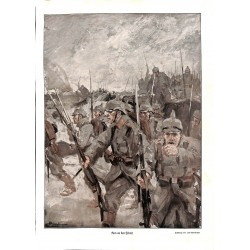 1980	 WWI print 1914/18-	German Soldiers  drawing by Lutz Ehrenberger	,size:	23,5 x 32,5 cm	-	this print comes from the austrian
