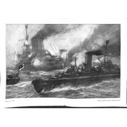 1981 WWI print 1914/18-German Tropedo boats attack English ships drawing by Direnz,size:46 x 32,5 cm-this print comes from