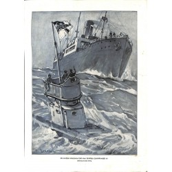 1984	 WWI print 1914/18-	German U-Boot submarine drawing by Direnz	,size:	23,5 x 32,5 cm	-	this print comes from the austrian bo