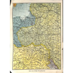 1989 WWI print 1914/18-map Eastern Front Poland Hungary Galizien,size:23,5 x 32,5 cm-this print comes from the austrian bo