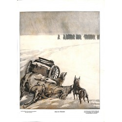 1990 WWI print 1914/18-After the Battle soldiers dog battlefield Eastern front drawing by Haase,size:23,5 x 32,5 cm-this p