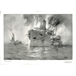 1993	 WWI print 1914/18-	U-Boat U9 English Cruiser Aboukir Hogue Cressy painting by Hans Bohrdt	,size:	46 x 32,5 cm	-	this print