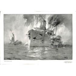 1993 WWI print 1914/18-U-Boat U9 English Cruiser Aboukir Hogue Cressy painting by Hans Bohrdt,size:46 x 32,5 cm-this print