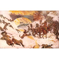 1995 WWI print 1914/18-Russian soldiers in Karparth painting by  Gino v. Finetti,size:23,5 x 32,5 cm-this print comes from