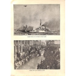 2009 WWI print 1914/18-English Monitors battle at Nieuport Algerian Cavalry  in Furnes,size:23,5 x 32,5 cm-this print come