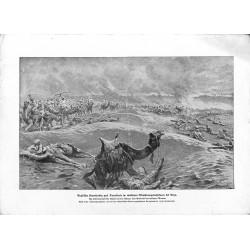 2032 WWI print 1914/18-English Camel rider Gaza turkish machine guns drawing by Fritz Grotemeyer,size:23,5 x 32,5 cm, with