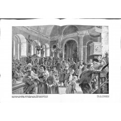 2036	 WWI print 1914/18-	french civilians in church in german conquered territory	,size:	47 x 32,5 cm		,this print comes from th