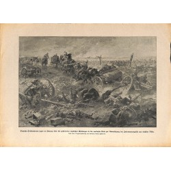 2040	 WWI print 1914/18-	German field artillery  rides over english positions	,size:	23,5 x 32,5 cm	, printed on normal paper-	,