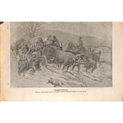 2042 WWI print 1914/18-Romanian refugees drawing by A. Reich,size:23,5 x 32,5 cm, printed on normal paper-, missing edges,