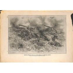 2060	 WWI print 1914/18-	artillery killed troops german airplanes	,size:	23,5 x 32,5 cm	, printed on normal paper-, missing edge