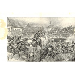 2061 WWI print 1914/18-Russia Krosno Wislok germand & austro-hungarian soldiers,size:47 x 32,5 cm, poor condition,,this pr