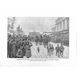 2064	 WWI print 1914/18-	Helsingsfors German tropps parade soldiers	,size:	23,5 x 32,5 cm		,this print comes from the german boo
