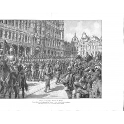 2071	 WWI print 1914/18-	Bruxelles German troops soldiers city hall place	,size:	47 x 32,5 cm		,this print comes from the german