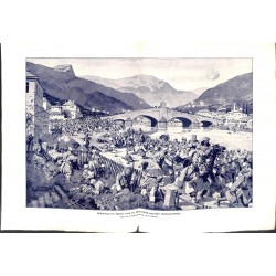 """2073 WWI print 1914/18-Valjevo  Austro-hungarian soldiers,size:47 x 32,5 cm,this print comes from the german book """"Illustr"""