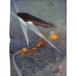 """2074 WWI print 1914/18-Zeppelin Antwerpen painting by Morat,size:47 x 32,5 cm,this print comes from the german book """"Illus"""