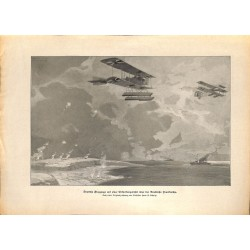 2085	 WWI print 1914/18-	France coast german airplanes drawing by Hans Schulze	,size:	23,5 x 32,5 cm	, printed on normal paper-