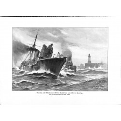 2097 WWI print 1914/18-Zeebrügge Mine Search boat drawing by Stöwer,size:23,5 x 32,5 cm,this print comes from the german b