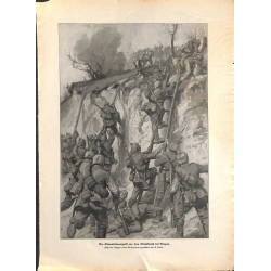 2099 WWI print 1914/18-Vregny german soldiers storm,size:23,5 x 32,5 cm, printed on normal paper-,this print comes from th