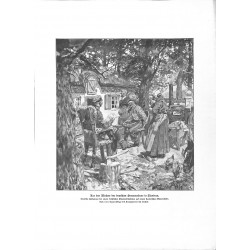 2112 WWI print 1914/18-Flandern Belgium German Soldiers rest by Rocholl,size:23,5 x 32,5 cm, printed on normal paper-,this