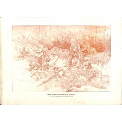 2122 WWI print 1914/18-Western Front german soldiers drawing by Willy Müller,size:23,5 x 32,5 cm, printed on normal paper-