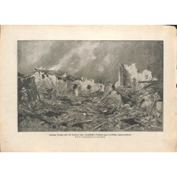 2124	 WWI print 1914/18-	France village destroyed german soldiers	,size:	23,5 x 32,5 cm	, printed on normal paper-	,this print c