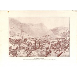 2129	 WWI print 1914/18-	Wardar river Bulgarian soldiers drawing by Hugo Braune	,size:	23,5 x 32,5 cm	, printed on normal paper-