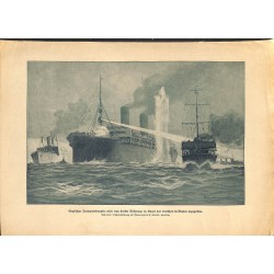 2138	 WWI print 1914/18-	English Steam ship attacked by german submarine U-Boot 	,size:	47 x 32,5 cm	, printed on normal paper-