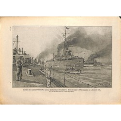 2140	 WWI print 1914/18-	English fleet in Wilhelmshaven December 1918	,size:	23,5 x 32,5 cm		,this print comes from the german b