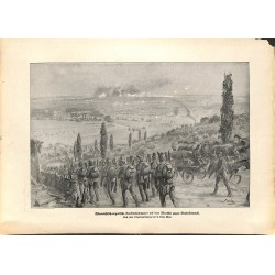 2203	 WWI print 1914/18-	Brest-Litwosk KuK soldiers marshing	,size:	23,5 x 32,5 cm	, printed on normal paper-	,this print comes