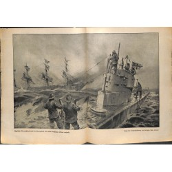 2213	 WWI print 1914/18-	English ship german U-Boot szubmarine	,size:	23,5 x 32,5 cm	, printed on normal paper-	,this print come